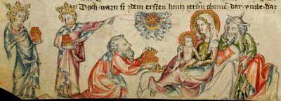 Medieval Christmas illumination: adoration of the Kings