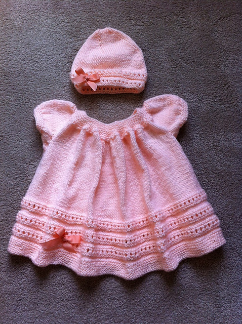 Free knitting pattern for baby set Peachy Baby Sweater and Hat
