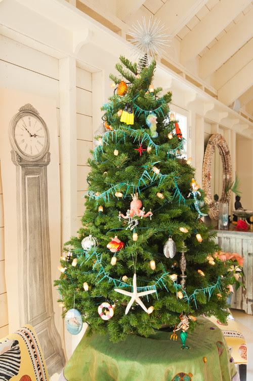mini christmas tree with sea life ornmants