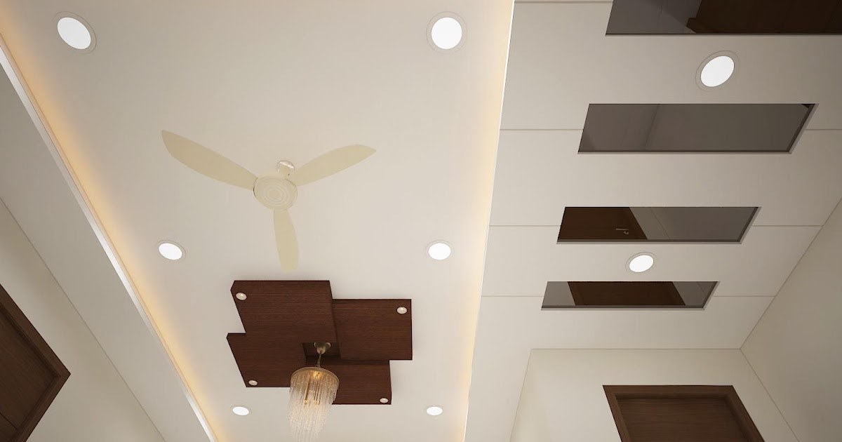 Attractive Main Hall Pop Ceiling Design With Two Fans