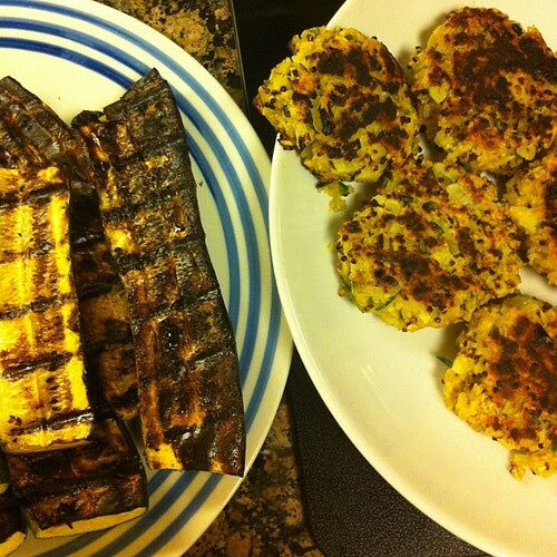"Supper is ""well done"" tonight... Quinoa cakes + grilled zucchini #wfd #meatless"
