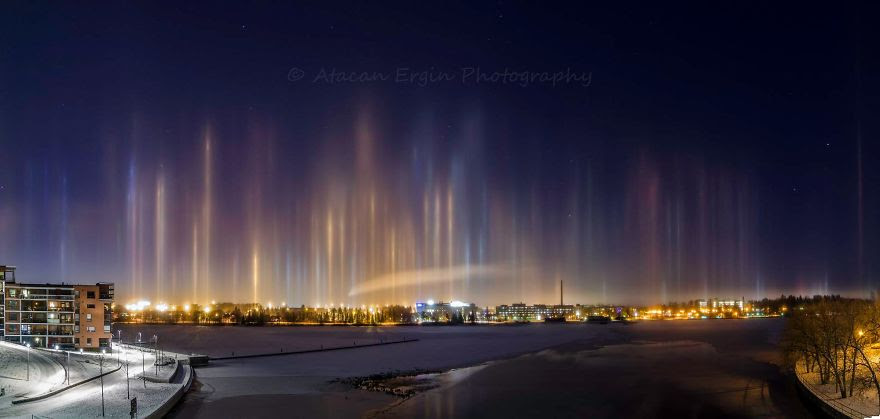 Light Pillars in Tampere, Finland