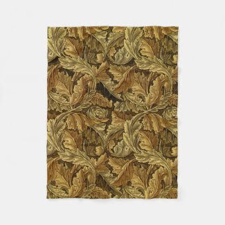 Autumn leaves William Morris vintage pattern Fleece Blanket