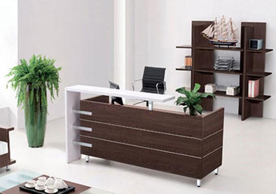 Modern Front Office Desk Glass Top Reception Desk Straight