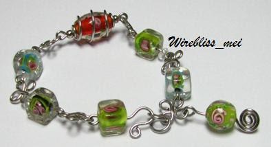 Wire Wrap Glass Bead Bracelet