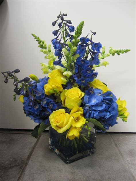 Blue and Yellow Centerpiece   Wedding & Event Flowers By