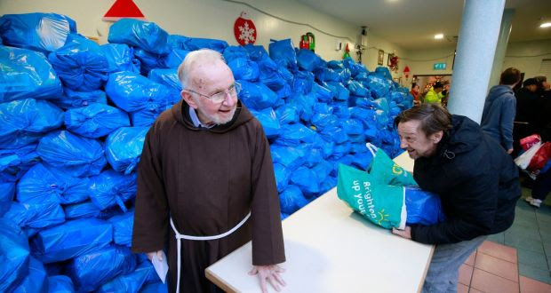 Brother Kevin Crowley at the  Capuchin Centre in Dublin where some 3,000 food parcels were distributed on Thursday. Photograph Nick Bradshaw.