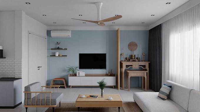 Παραλιακές χρωματικές εγχύσεις από άμμο, βότσαλο και γαλάζιο ουρανό σε αστικό διαμέρισμα