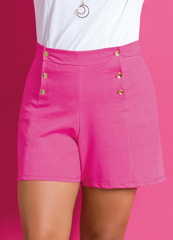 Short Botões Frontais (Rosa) Plus Size