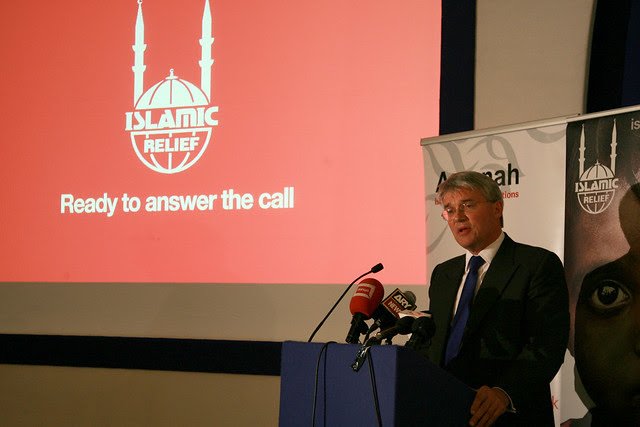 Andrew Mitchell addresses guests gathered at Islamic Relief's Iftar event