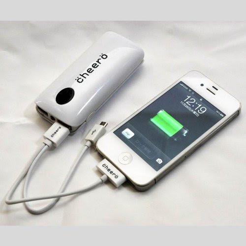 cheero Power Grip 5200mAh (ホワイト) 大容量モバイルバッテリー (2.1A,1A 2出力ポート/ ポーチ付/半年保証)