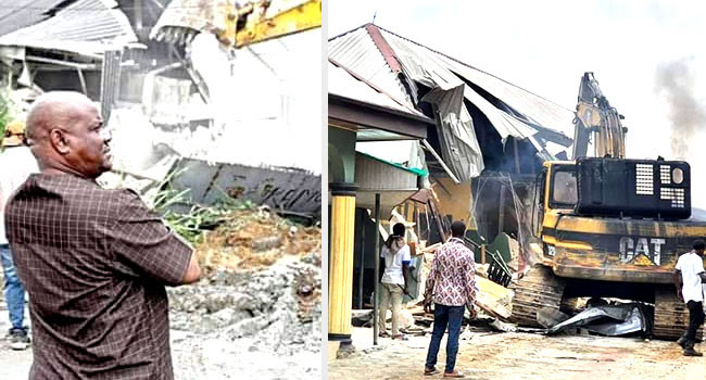 Nigerians react to demolition of two hotels by Governor Wike of Rivers State