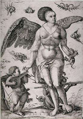 Venus accompanied by cupid playing the flute