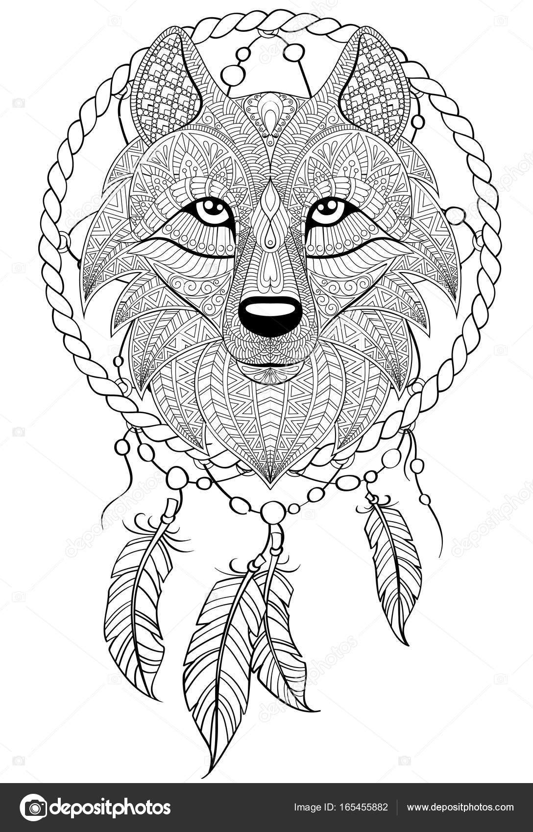 Wolf Dreamcatcher Drawing at GetDrawings | Free download