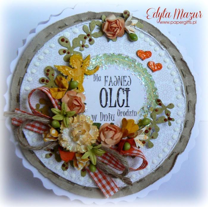 Żółto-pomarańczowa kartka z amorkiem i sercami na urodziny Oli
