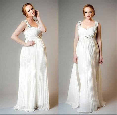 Plus Size White Chiffon Maternity Wedding Dresses Beaded