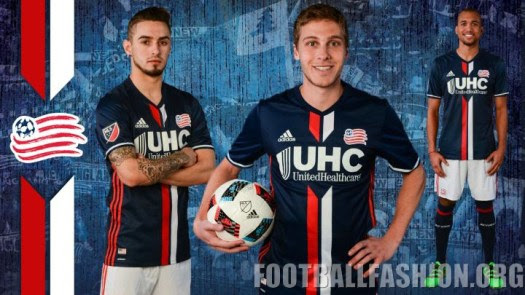 New England Revolution 2016 adidas Home Soccer Jersey, Football Kit, Shirt, Camiseta de Futbol