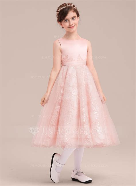 A Line/Princess Tea length Flower Girl Dress   Satin/Tulle