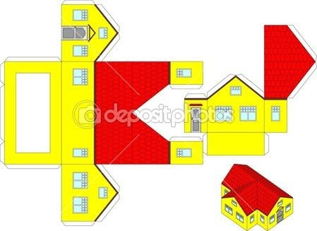 Printable 3d paper craft of a house — Stock Illustration #21122417 ...