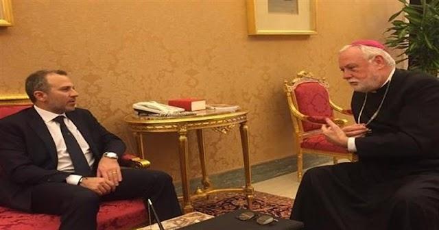 باسيل: وزير خارجية الفاتيكان اكّد دعم لبنان بموضوع النازحين