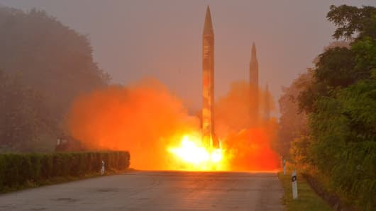 File photo of Ballistic rocket is seen launching during a drill by the Hwasong artillery units of the KPA Strategic Force in this undated picture provided by KCNA in Pyongyang on July 21, 2016.