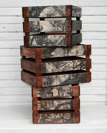 Crates -  you could decoupage on crates...