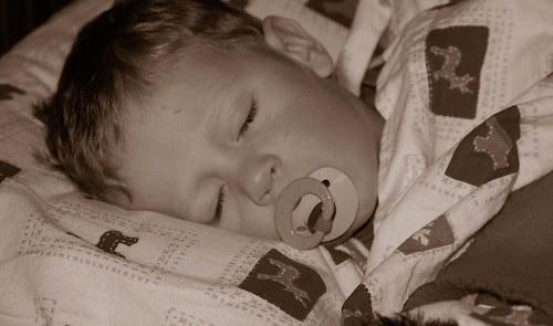 Garrett sleeping - sepia, cropped