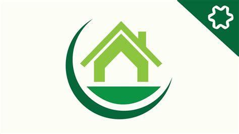 green eco home house logo design  adobe
