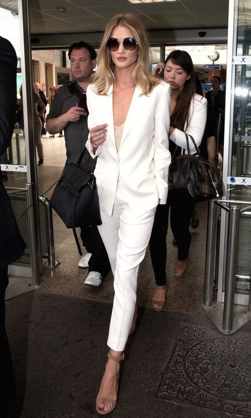 Le Fashion Blog Celeb Model Style Rosie Huntington Whiteley Round Sunglasses White Suit Hermes Belt Bag Suede Ankle Strap Sandals Via Daily Mail UK