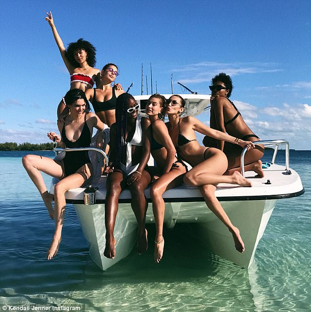 Fun in the sun: The girls were joined by a host of supermodels, Justine Skye, Renell Medrano, Camila Morrone, and Isabella Peschardt, as they celebrated Hailey Baldwin's 21st birthday