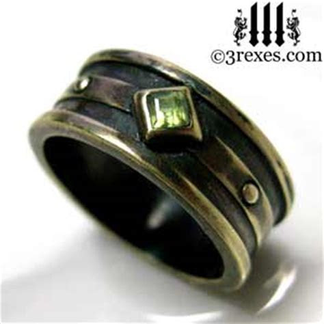 Moorish Gothic 1 Stone Wedding Ring With Antiqued Brass