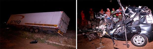 Carreta saiu da pista e o Fiat Uno ficou completamente destruído após a colisão na BR-304, em Macaíba (Foto: Reprodução/Inter TV Cabugi)