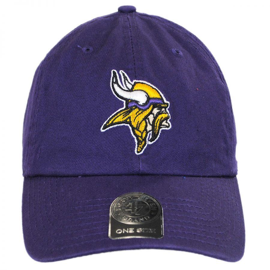 47 Brand Minnesota Vikings NFL Clean Up Strapback Baseball Cap NFL Football Caps