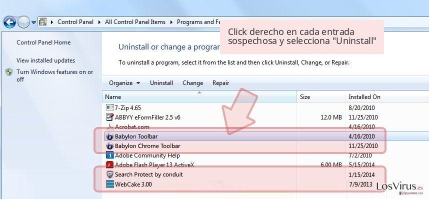 Click derecho en cada entrada sospechosa y selecciona 'Uninstall'