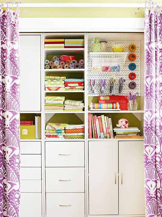 Crafts storage closet