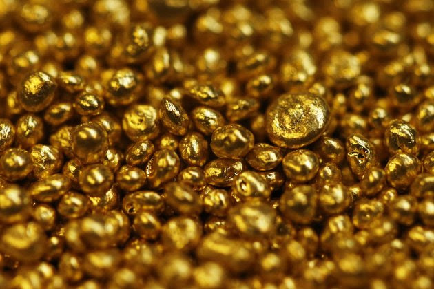 Gold granulate is seen at a plant of gold refiner and bar manufacturer Valcambi SA in the southern Swiss town of Balerna