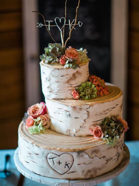 Aspen wedding cake birch rustic Kerri's Cakes in Yakima