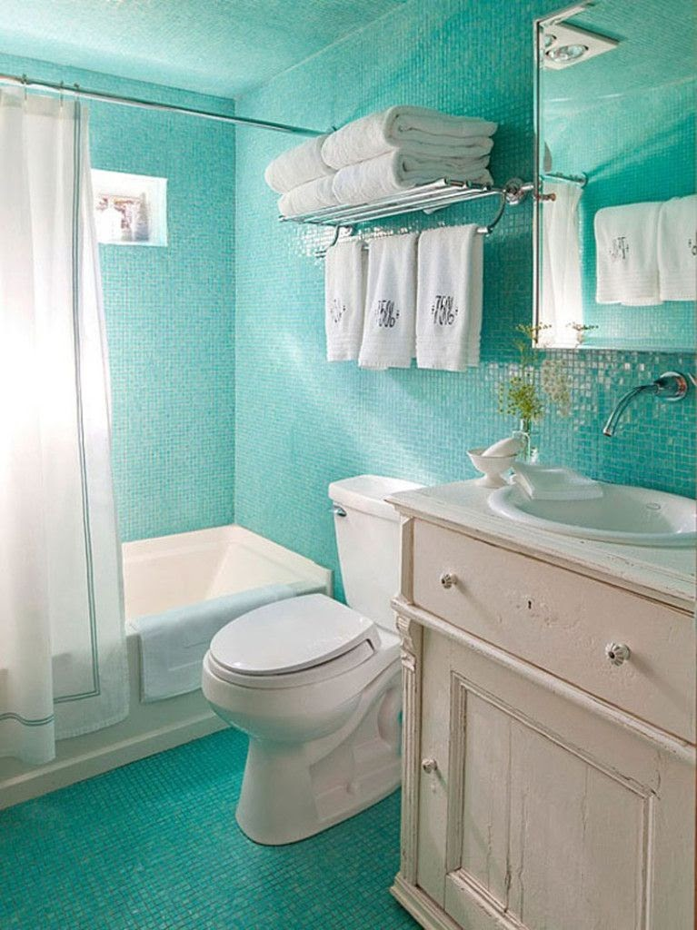 Cool Aqua And White Bathroom Ideas wallpaper