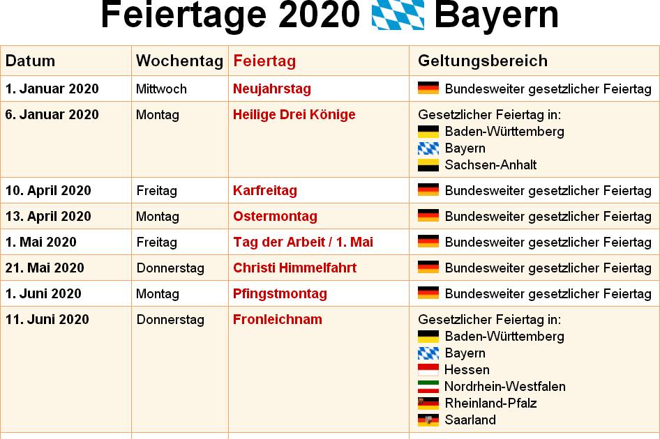 Brückentage Feiertage Bayern 2021 - Feiertage 2021 Bayern ...
