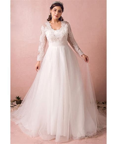 Modest Long Lace Sleeve Plus Size Wedding Dress Tulle