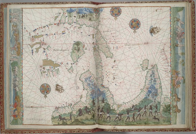 16th c Portolan atlas map supposedly of North Australia and Asia