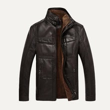 Men Faux Leather Jacket NEW Fashion Winter Tops Coat Fleece Lining Jacket