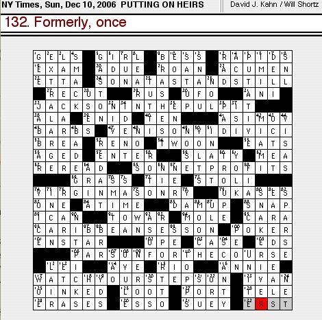 Rex Parker Does The Nyt Crossword Puzzle Sunday Dec 10 2006 David J Kahn