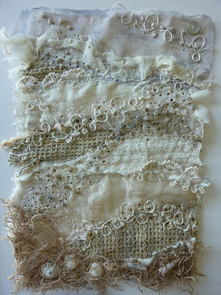 """A Textile for Aldeburgh by Su (Living On The Edge blog) __   """"A textile inspired by the light and textures found in Aldeburgh in Suffolk. A mix of hand and machine stitching."""""""
