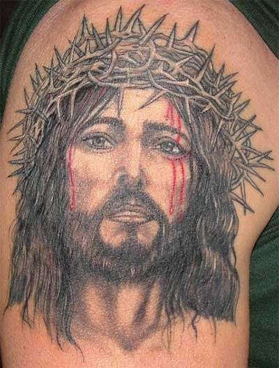 Disappointed Jesus Tattoo On Shoulder