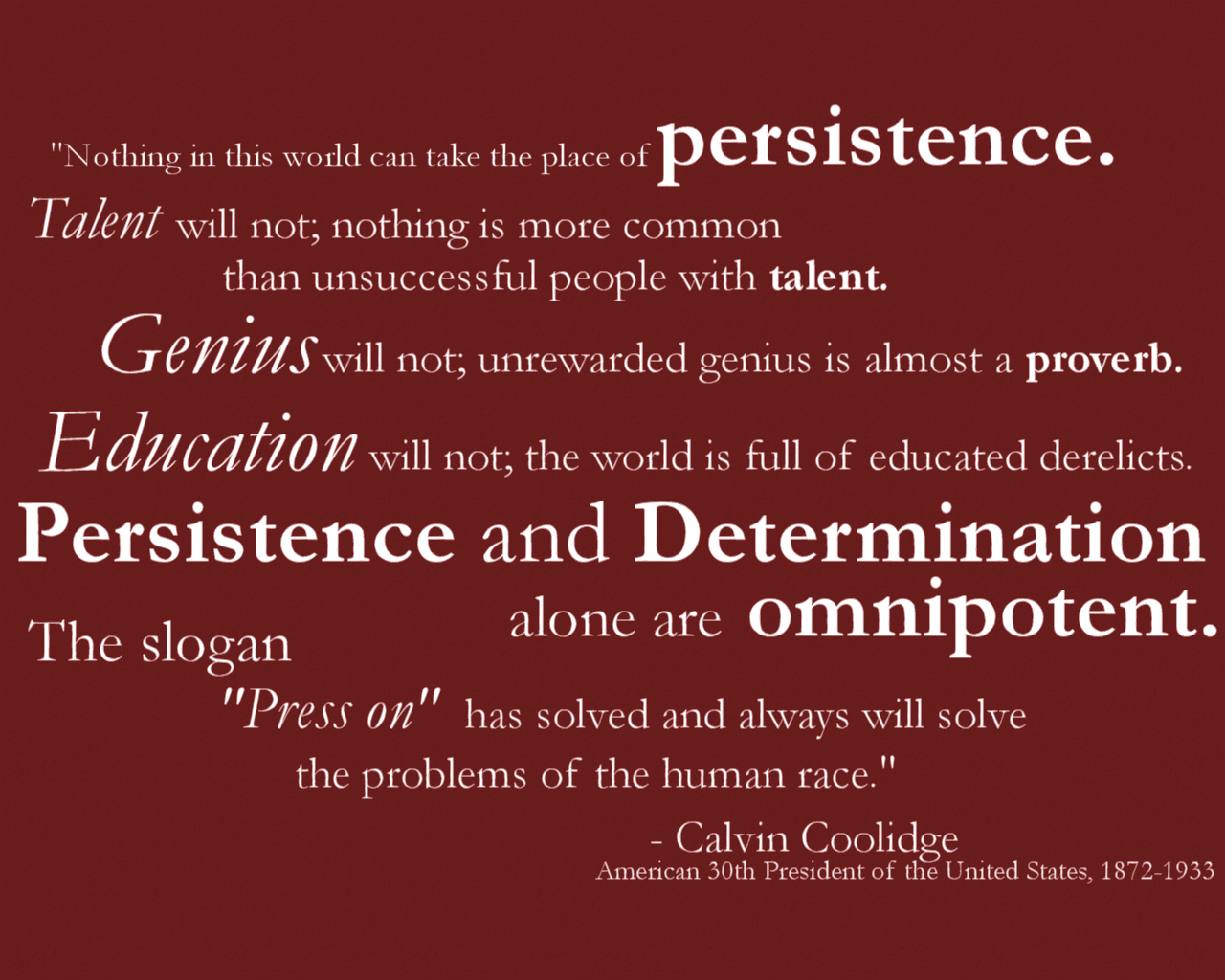 Persistence Quote Calvin Coolidge