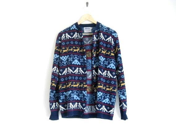 vintage knit cardigan / navy blue knit sweater / fair isle deer design