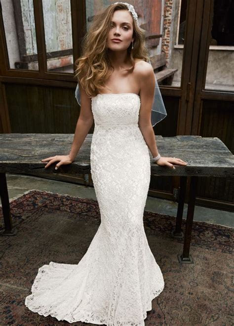 Galina Strapless Lace Mermaid Dress ? Ivory Size 3 Wedding