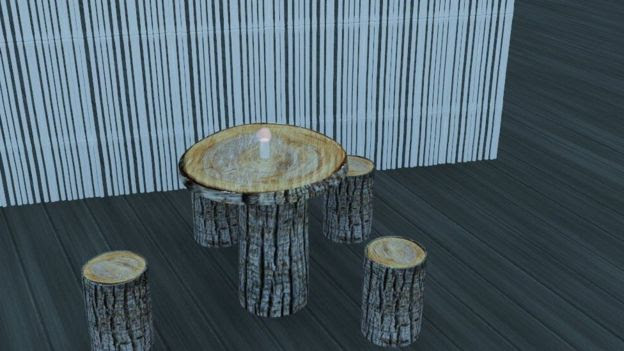 Computer image of log chairs and table