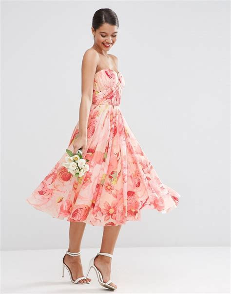 ASOS   ASOS WEDDING Floral Printed Rouched Bandeau Mesh